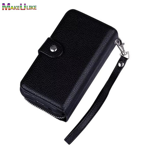 Zipper Wallet Case For IPhone XS Max XR Phone Bag Case Lanyards PU Leather Flip+Detachable Back Cover For Iphone XR XS Max