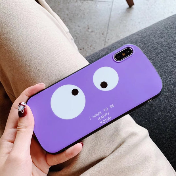 Zxtrby Arc Cartoon Eyes Phone Case For IPhone 6 6S 7 8 Plus X XS XR MAX Soft IMD Phone Back Mobile Cover Bag Coque