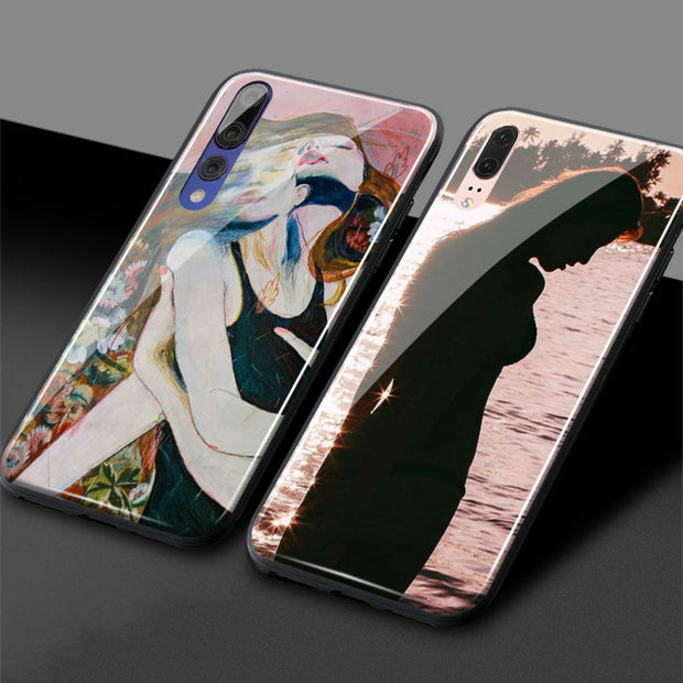 Aesthetic Indie Pale Pink Soft Silicone Glass For Huawei Honor 8x 9 Lite 10 Magic2 Nova 2s 3 Mate 10 20 P20 P30 Pro Phone Case