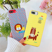 Cartoon Case For IPhone 6 6S 7 7plus 8 8plus 6s Plus IPhone X Grind Arenaceous Hard PC Two-in-one New Style Phone Bag Case