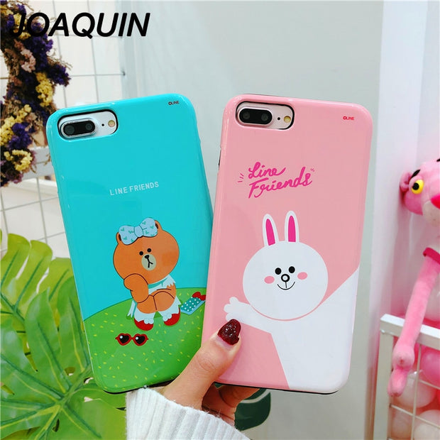 Cartoon Brown Bear Rabbit Yellow Duck Case For IPhone 6 6S 7 8 6s Plus IPhone X Hard PC Two-in-one New Style Phone Cover