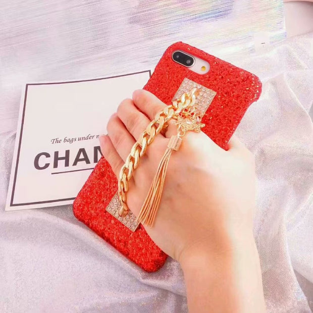 Fashion Hard Shell Protective Shell Of A New Type Of Flicker Chain For XSMAX XR XS X Iphone 6s 6 7 7plus 8 8plus Deluxe Case