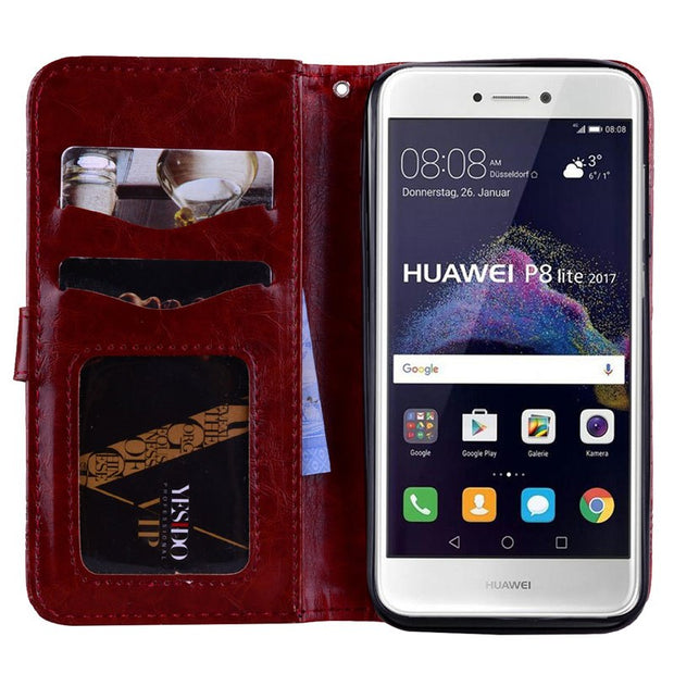 For Huawei P8 LITE P9 Lite 2017 Case PRA LX1 LA1 LX3 Flip Phone Leather For Huawei P 8 9 Lite 2017 PRA-LX1 PRA-LA1 PRA-LX3 Cover