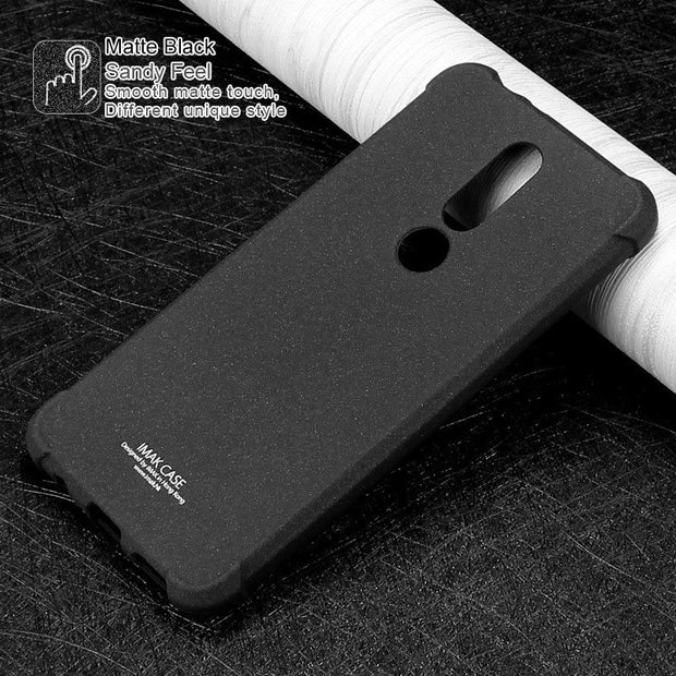 For Nokia X5 Case IMAK Shockproof Airbags Series Silicone Soft TPU Back Cover Case For Nokia X5/Nokia 5.1 Plus With Film