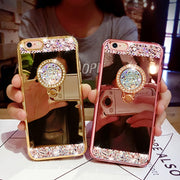 For IPhone 6s Case Giltter Rhinestone Mirror Stand Holder Silicon Cover For IPhone 6 6s Plus Diamond Finger Grip Stand Case Capa