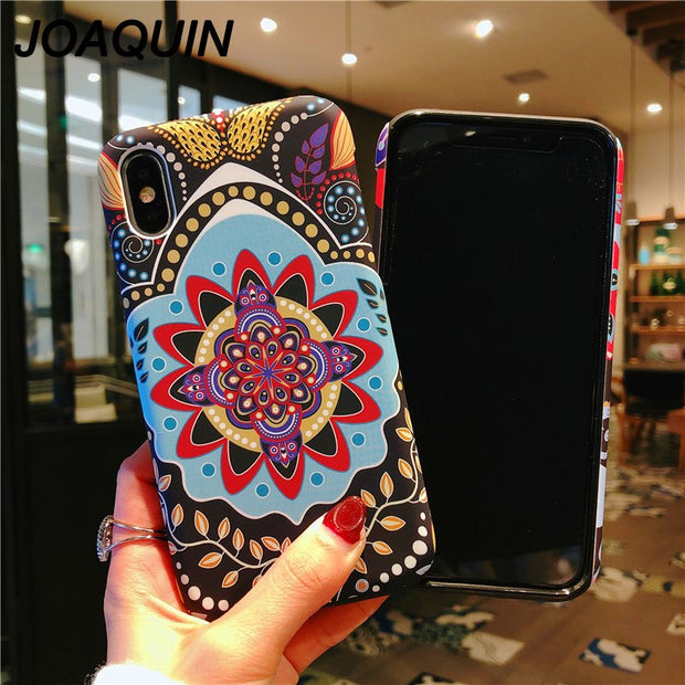 For IPhone X 6 6s 77 Plus 8 8 Plus Fashion Art Sunflower Frosted Hard Shell Phone Case Chinese Wind Two-in-one The New Style
