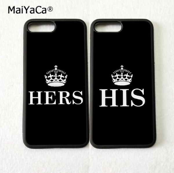 His Hers BFF Love Pair Best Friends Silicone Phone Cases For IPhone 5s Se 6 6s Plus 7 7plus 8 8plus X XR XS MAX Soft Cover Case