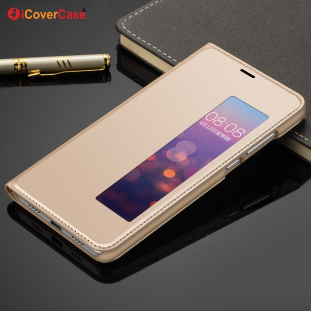 ICoverCase Flip Cover Case For Huawei P20 Mobile Phone PU Leather Case With Smart Window View