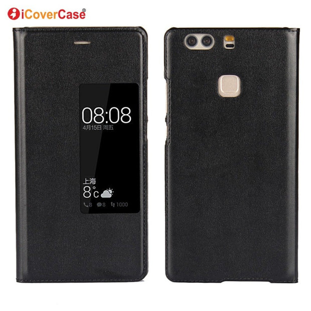 ICoverCase Flip Cover Case For Huawei P9 Plus Mobile Phone PU Leather Case With Smart Window View