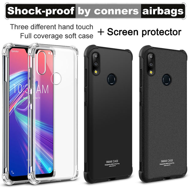 IMak Anti-knock Airbag Case For Asus Zenfone Max Pro M2 ZB631KL Matte Case Soft TPU Cover For ASUS X01AD Case Screen Protector