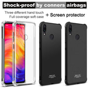 IMak Anti-knock Airbag Case For Xiaomi Redmi Note 7 Pro Matte Case Soft TPU Cover Xiomi Redmi Note7 Case + Screen Protector