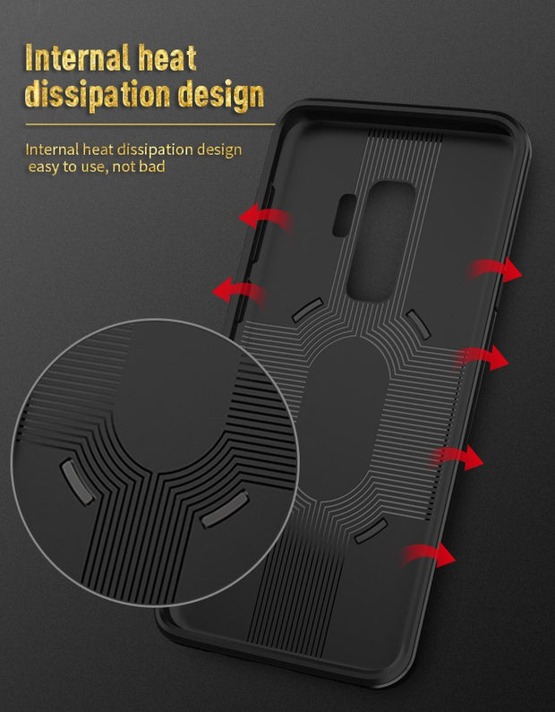 IPAKY For Samsung Galaxy S9 G960F Case Cover Soft Silicone& PC Frame Armor For Galaxy S9 Back Cover Ring Holder Stand Case 5.8""