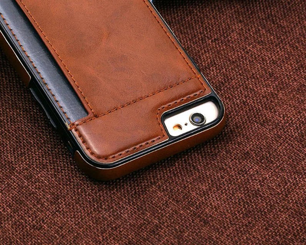 Luxury Phone Case For The IPhone 6 6 S Plus Luxury Man-made Leather Case For IPhone7 7 Plus TPU Card Position On The Back Cover