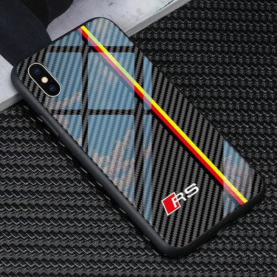 Luxury Tpu+Tempered Glass Audi RS Logo Phone Case For Iphone X XR XS Max 7 6 6S 8 Plus Cases Samsung Galaxy S8 S9 Plus Note 9