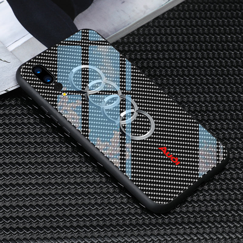 Luxury Tpu Tempered Glass Audi Rs6 Logo Phone Case For Huawei P20 Pro Moonstone Cases