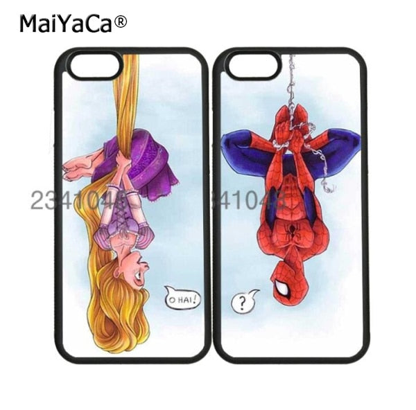Rapunzel Meet Spiderman Best Friends BFF Soft Cell Phone Cases For IPhone X 5c 5s Se 6 6s Plus 7 7plus 8 8plus Case Phone Shell