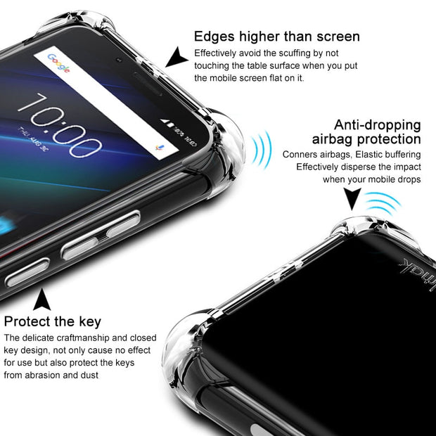 SFor BlackBerry Key2 LE Case IMAK Soft Silicone TPU Airbag Back Cover Case For BlackBerry Key 2 LE Gift Screen Protector