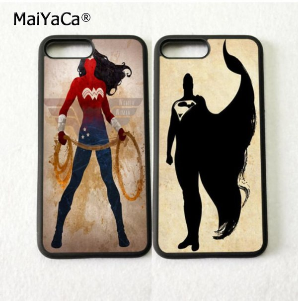 Wonder Woman Batman BFF Best Friends Silicone Phone Cases For Iphone 5s Se 6 6s Plus 7 7plus 8 8plus X XR XS MAX Soft Cover Case