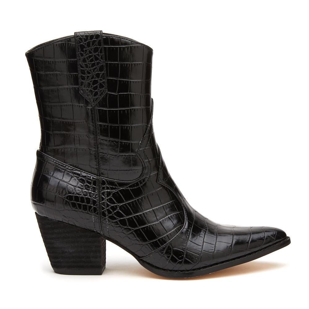 Black, Boot, Cowboy boot, Croc, Matisse, Side Zipper