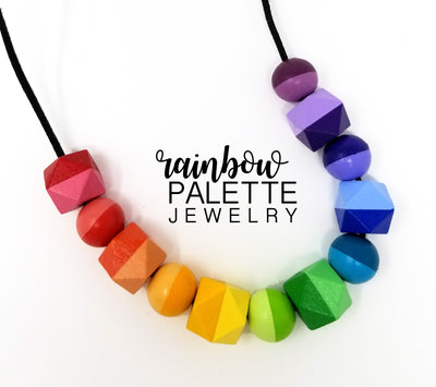 Two-tone Hexagonal and Round Rainbow Necklace