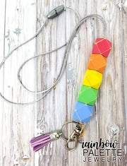 Distressed Pastel Rainbow Lanyard