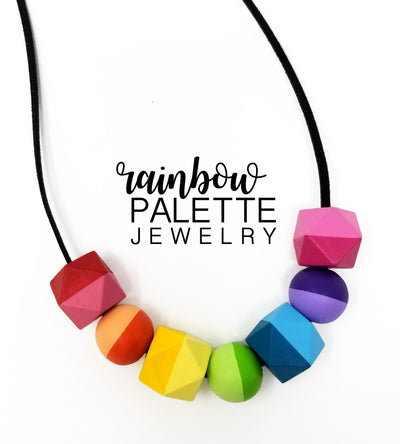Simplified Two-tone Hexagonal and Round Rainbow Necklace