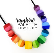 Two-Tone Hexagonal and Rounded Cube Rainbow Necklace