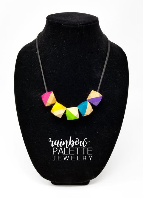 Colorful Half-Painted Bead Necklace