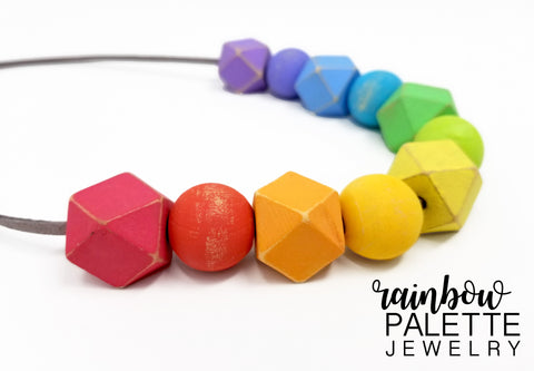 Distressed Pastel Hexagonal and Round Necklace (20mm)