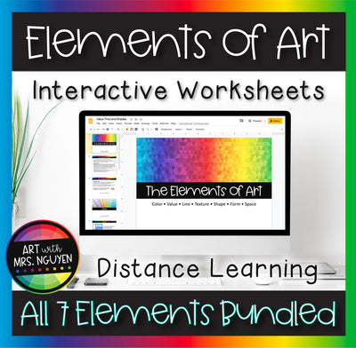 Elements of Art Interactive Worksheets for Distance Learning COMPLETE BUNDLE