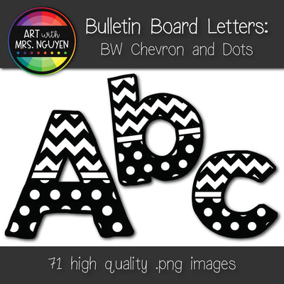 Bulletin Board Letters: Black and White Chevron and Dots