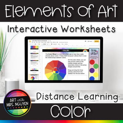Elements of Art Interactive Worksheets for Distance Learning: Color