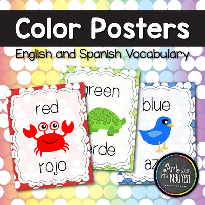 Color Identification Posters (English and Spanish Words)
