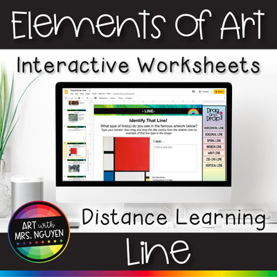 Elements of Art Interactive Worksheets for Distance Learning: Line