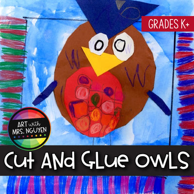 Art Lesson: Cut-and-Glue Owls