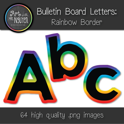 Bulletin Board Letters: Black with Rainbow Gradient Border
