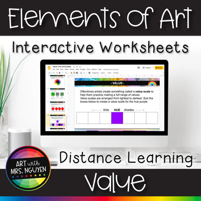 Elements of Art Interactive Worksheets for Distance Learning: Value