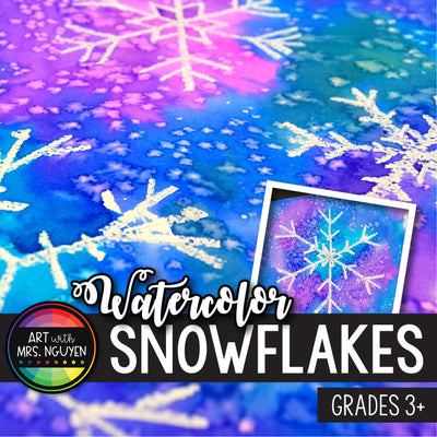 Art Lesson: Watercolor Snowflake Resist Paintings