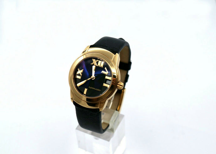 18K Leonard Watch with a Black Face and Black Leather Band