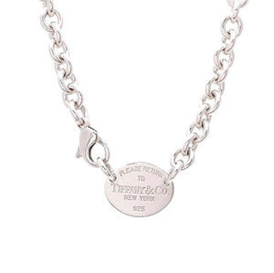 Return to Tiffany Sterling Silver Oval Tag Necklace. Tiffany & Co.