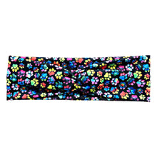 Rainbow Dog Paw Print Knot Headband - Black