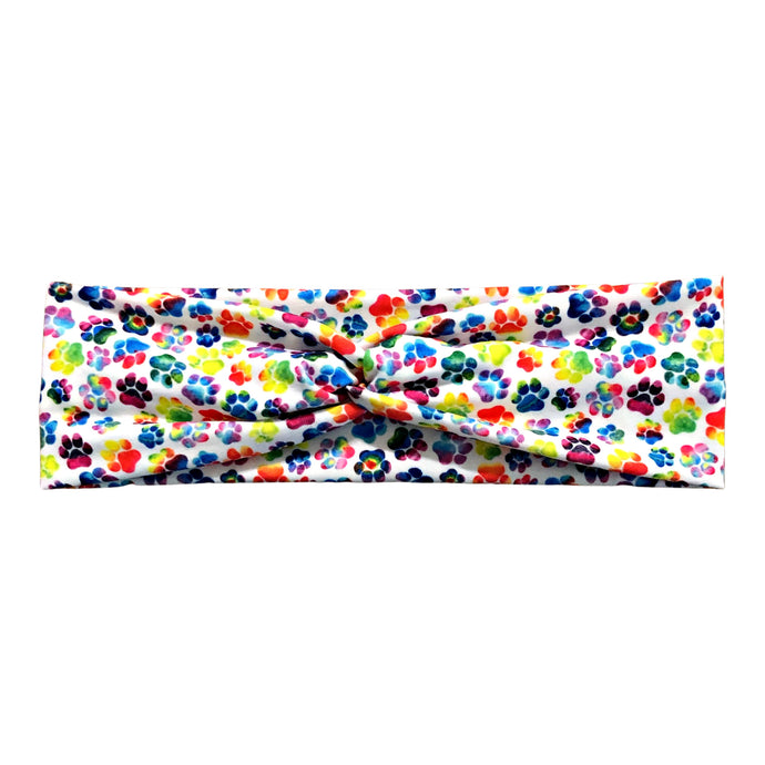 Rainbow Dog Paw Print Knot Headband - White