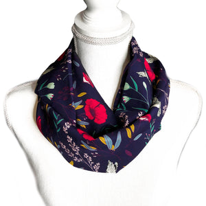 Navy Hummingbirds and Flowers Infinity Scarf