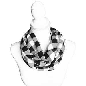 "Plaid Check Infinity Scarf, 1"" Blocks of Black and White"