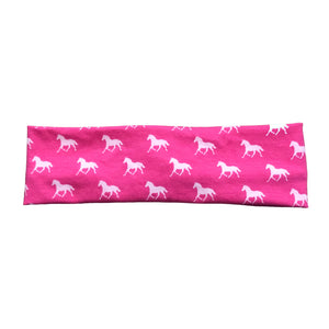 Pink Horse Derby Jersey Knit Fabric Headband with Buttons
