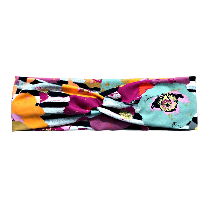Black White Orange Stripe Floral Fabric Headband
