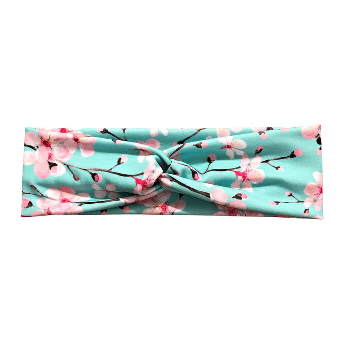 Women's Cherry Blossom Headband - Green and Pink