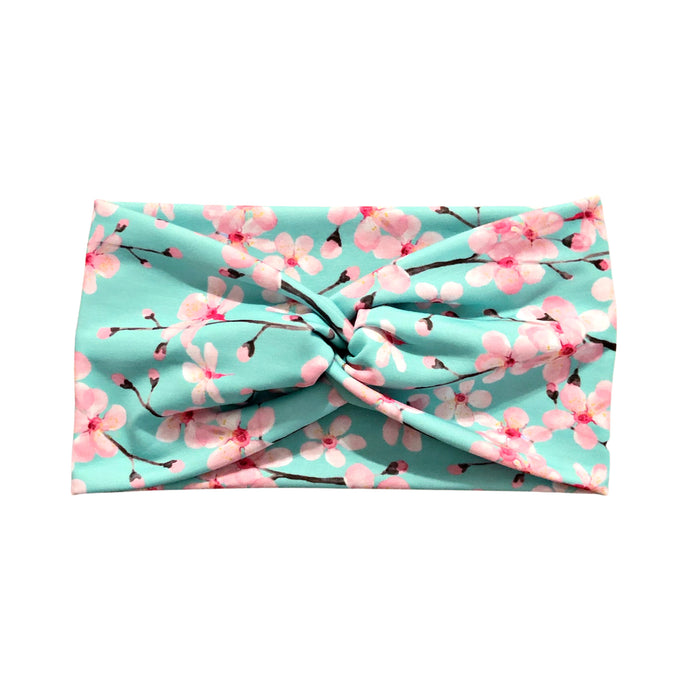 Mint Green & Pink Cherry Blossom Wide Headband