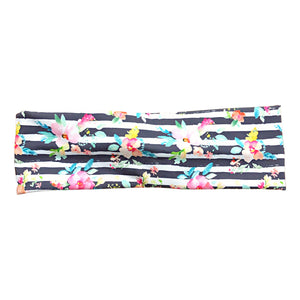Striped Floral Headband in Light Gray, White and Pink