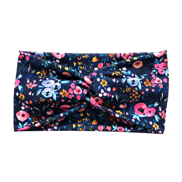 Women's Wide Navy Abstract Flower Headband, Vibrant Pink, Purple, Orange